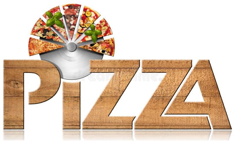 Pizza - símbolo de madera con las rebanadas de pizza stock de ilustración