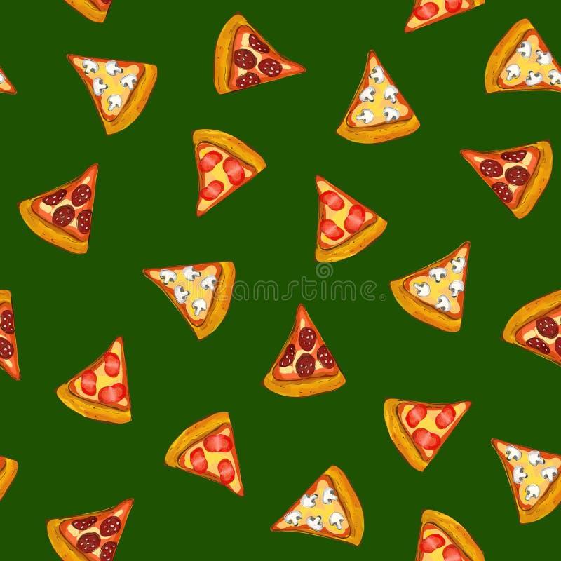 Pizza sömlös modell, bakgrundsvektorillustration vektor illustrationer