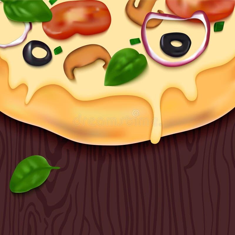 Pizza saboroso do vetor na tabela de madeira ilustração royalty free