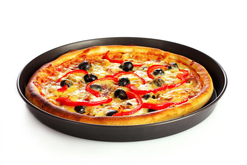 Pizza saboroso na placa isolada imagens de stock