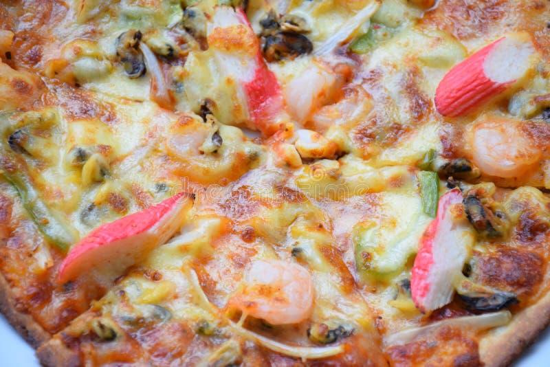 Pizza saboroso, pizza do marisco, pizza com marisco, pizza com marisco imagens de stock royalty free
