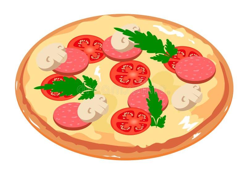 Pizza sabrosa con el tomate, las setas, el salami y el perejil italiano ilustración del vector