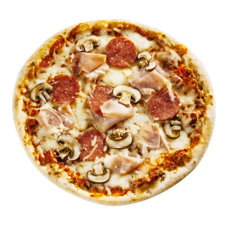 Pizza sabrosa del jamón y del salami con el desmoche de la seta imagen de archivo