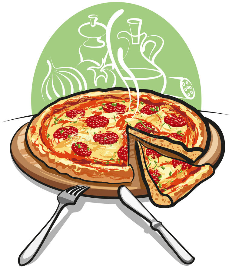 Pizza with salami vector illustration