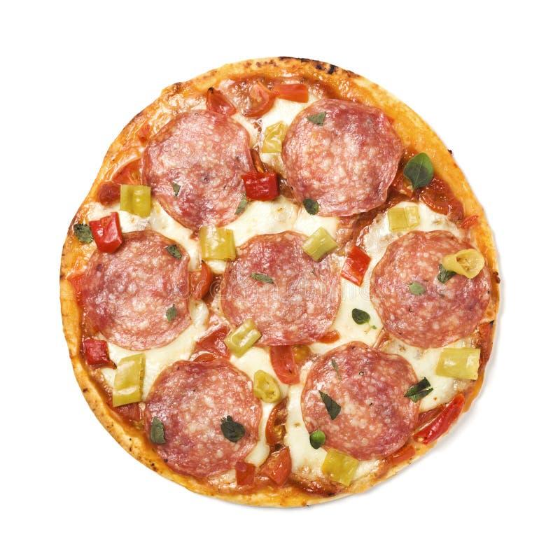 Pizza salami royalty free stock photo