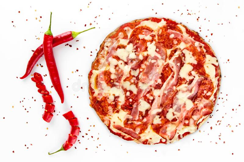 Pizza salami with red pepper on white royalty free stock image