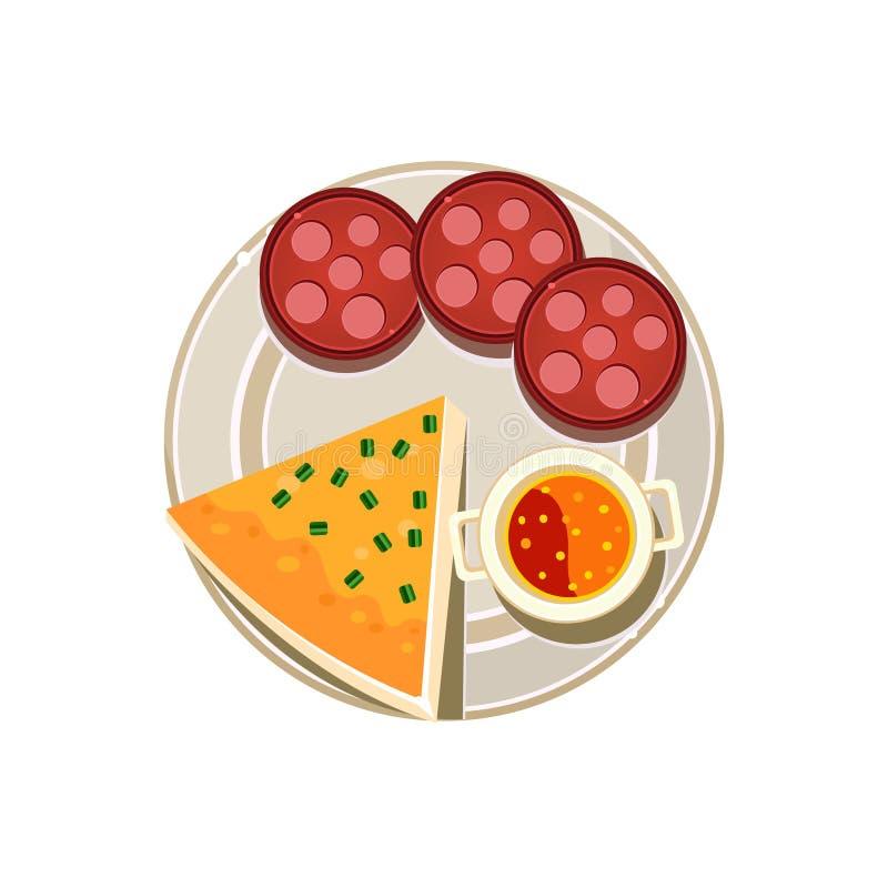 Pizza, salsiccia ed alimento servito minestra Vettore illustrazione di stock