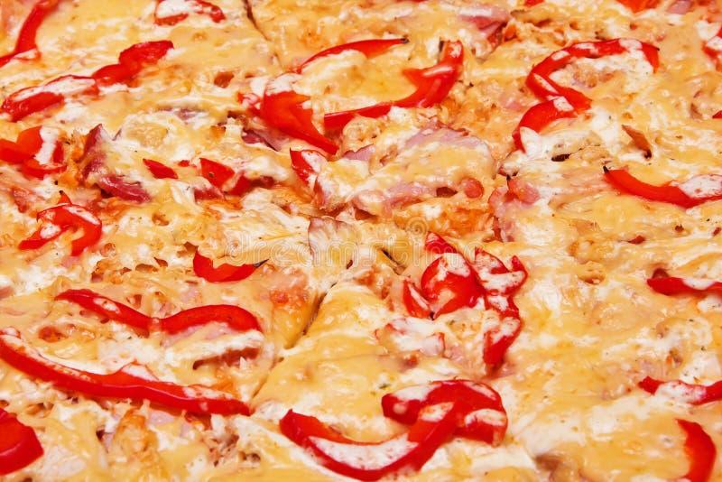 Pizza (salsiccia, prosciutto, raccordo del pollo, paprica) fotografia stock