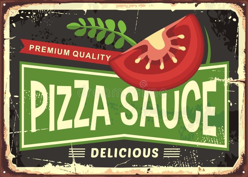 Pizza sauce retro metal sign vector illustration