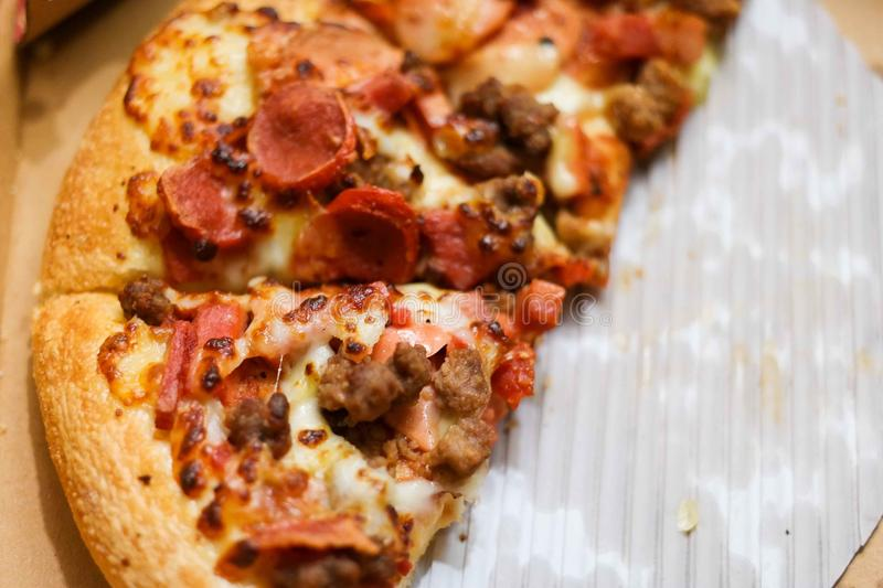 Pizza with sausage stock photos