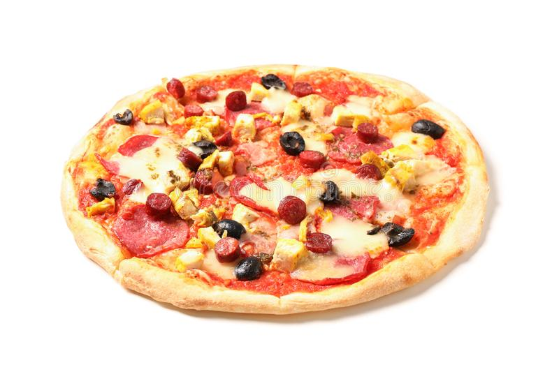 Pizza with sausage, meat, cheese and olives isolated on white royalty free stock image