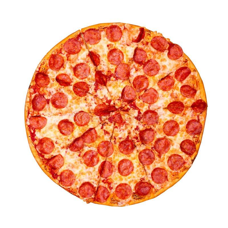 Pizza savoureuse fra?che avec des pepperoni d'isolement sur le fond blanc Vue sup?rieure photographie stock