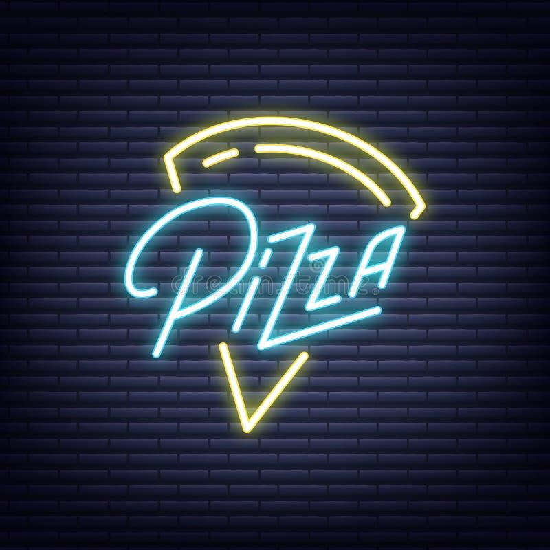 Pizza Señal de neón de la pizza Diseño de neón de la bandera del letrero que brilla intensamente libre illustration