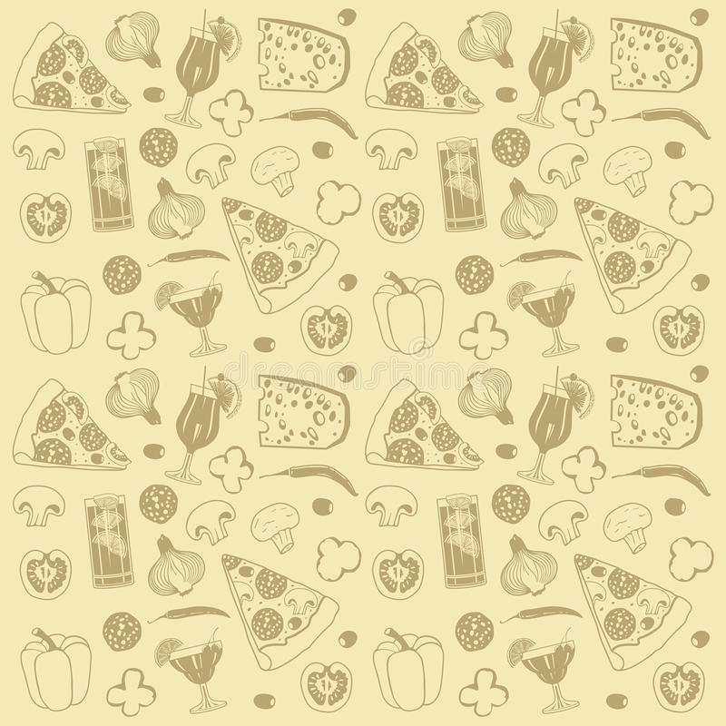 Pizza seamless pattern. This is seamless pattern of food. Drawn design royalty free illustration