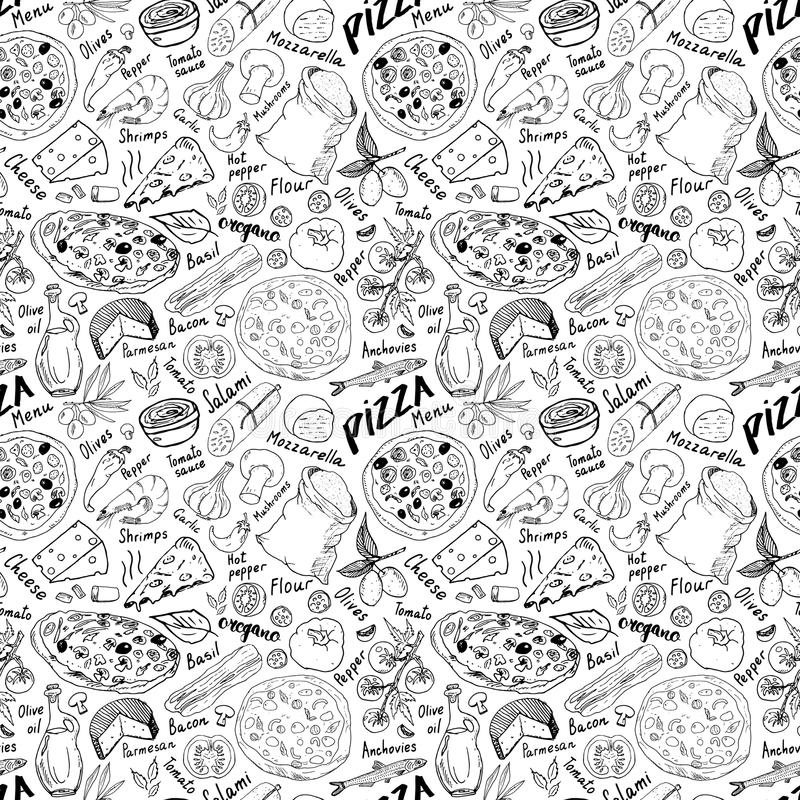 Pizza seamless pattern hand drawn sketch. Pizza Doodles Food background with flour and other food ingredients, oven and kitchen to. Ols. Vector illustration stock illustration
