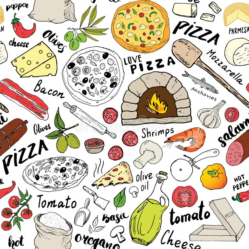 Pizza seamless pattern hand drawn sketch. Pizza Doodles Food background with flour and other food ingredients, oven and kitchen to royalty free illustration