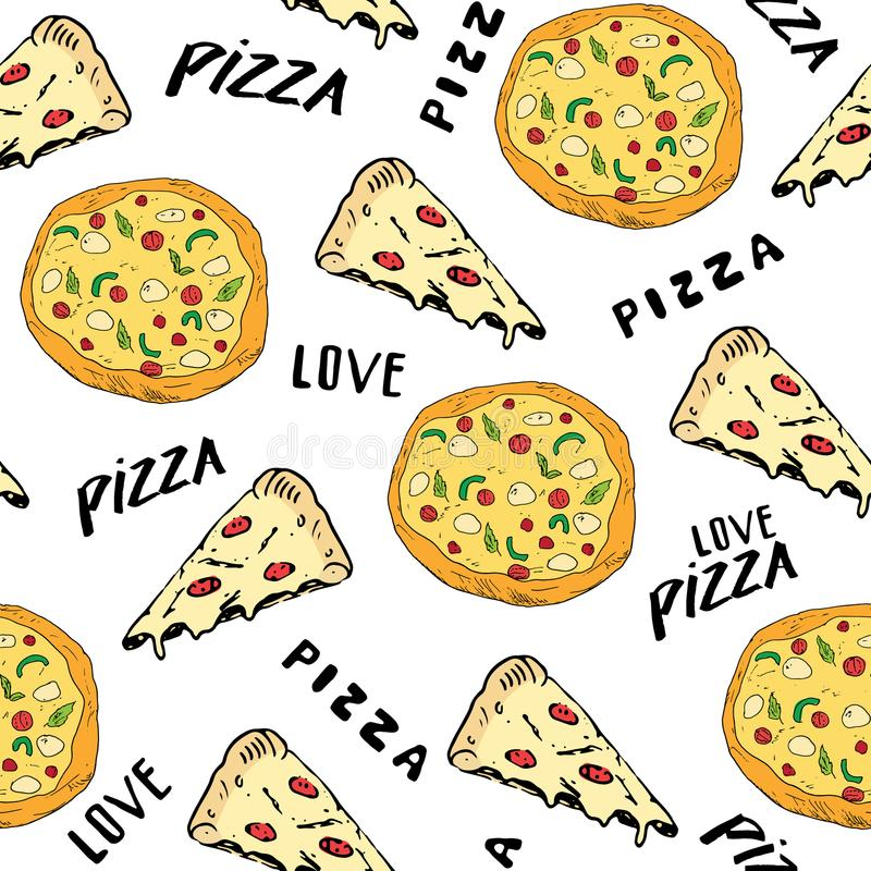 Pizza seamless pattern hand drawn sketch. Pizza slice doodles and words pizza love Food background. Vector illustration.  vector illustration