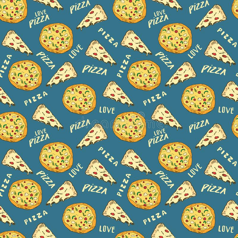 Pizza seamless pattern hand drawn sketch. Pizza slice doodles and words pizza love Food background. Vector illustration.  stock illustration