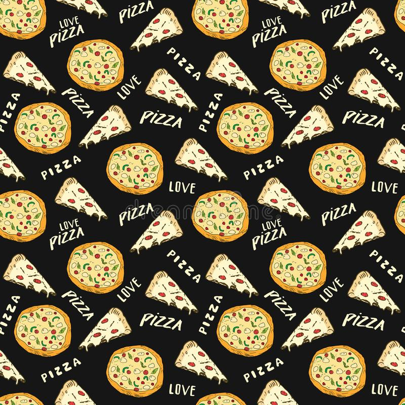 Pizza seamless pattern hand drawn sketch. Pizza slice doodles and words pizza love Food background. Vector illustration.  royalty free illustration