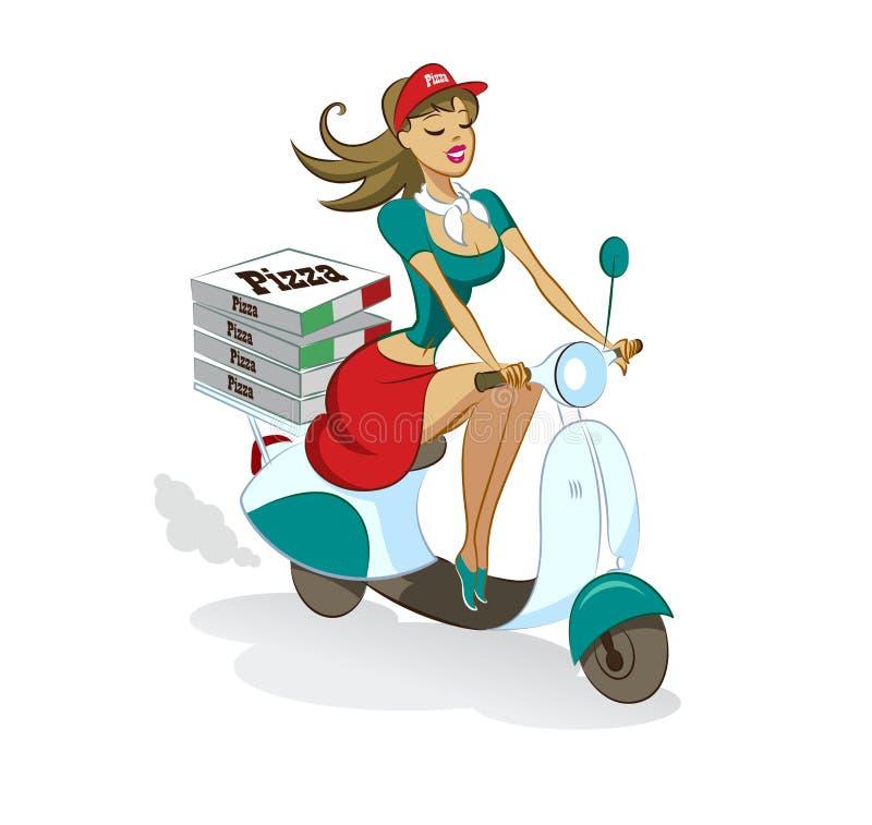 Pizza Seksueel meisje scooter levering vector illustratie