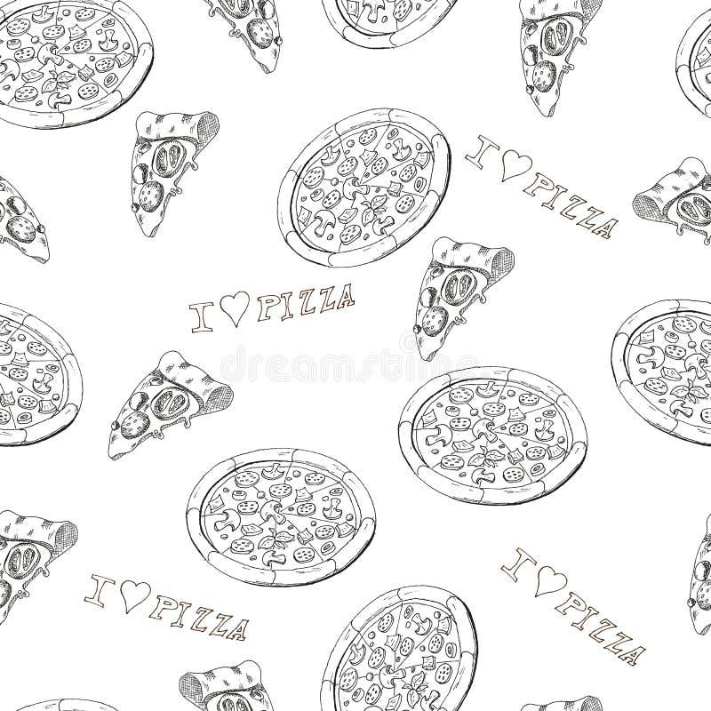 Pizza sem emenda ilustração stock