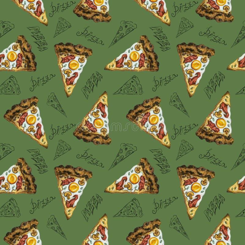 Pizza sem emenda do carbonara da aquarela do teste padrão no fundo verde ilustração stock