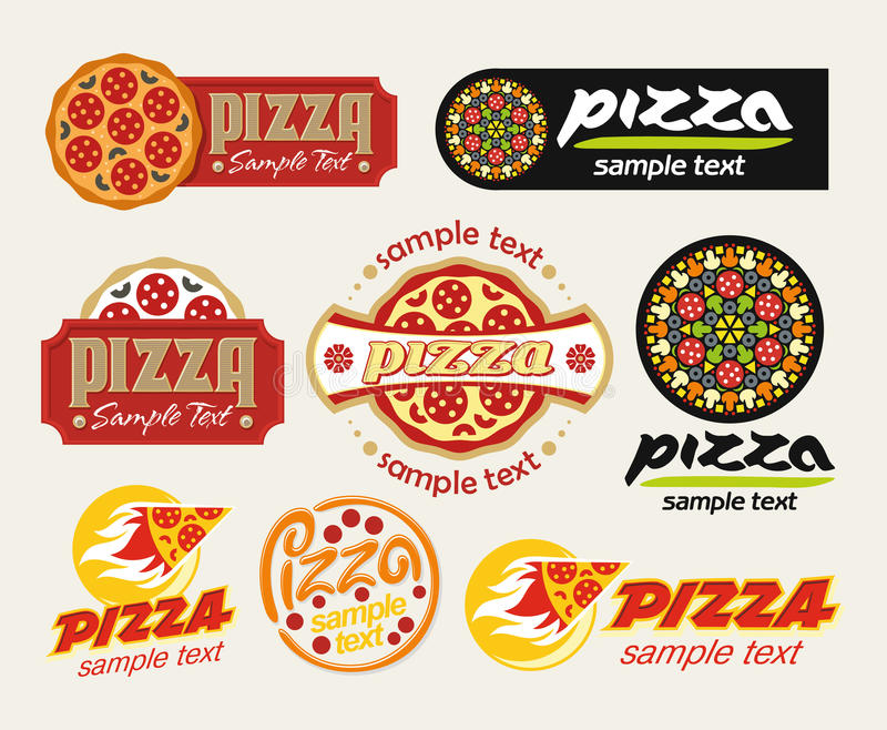 Download Pizza set stock vector. Image of graphic, text, illustration - 19648959