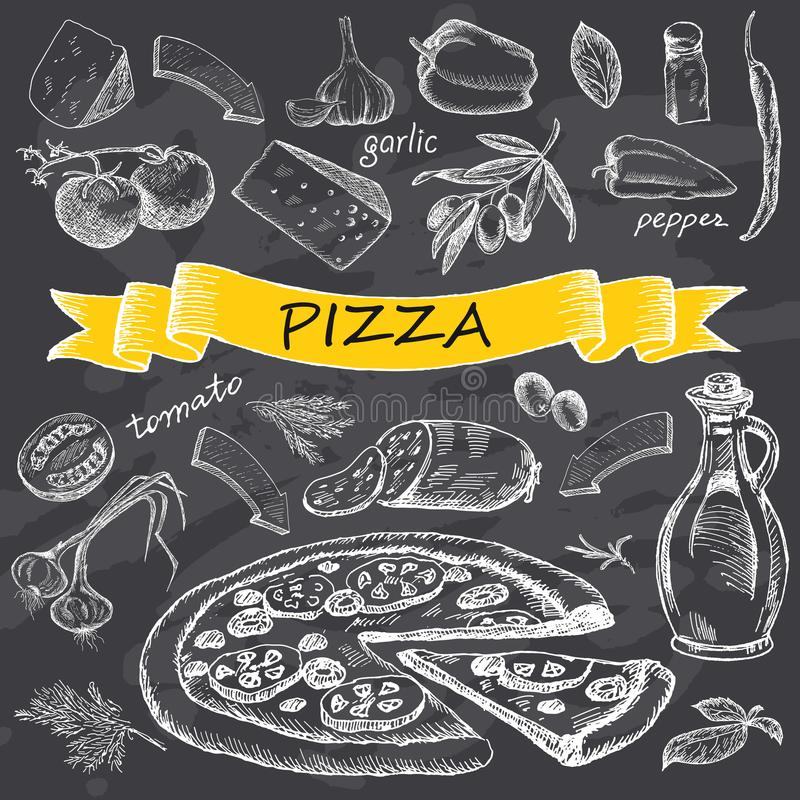 Pizza with set of ingredients with yellow ribbon. vector illustration