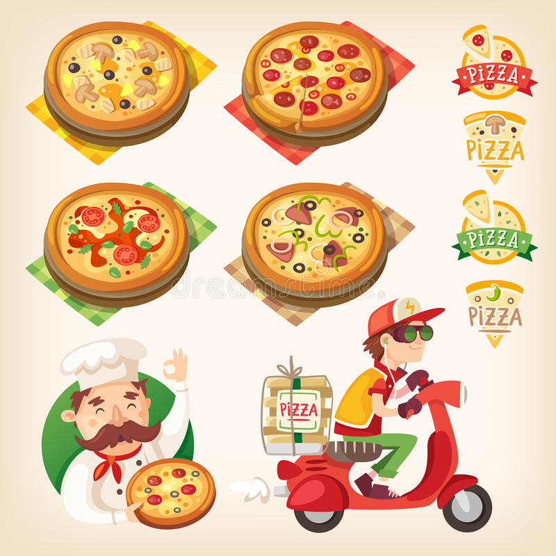 Pizza set. Pizza related pictures: kinds of pizza on the board, logos, italian cook and pizza delivery boy