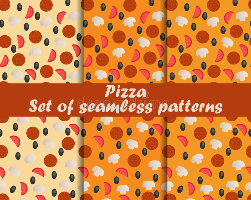 Pizza. Set of seamless patterns. Ingredients for pizza. The pattern for wallpaper, bed linen, tiles, fabrics, backgrounds. Vector illustration royalty free illustration