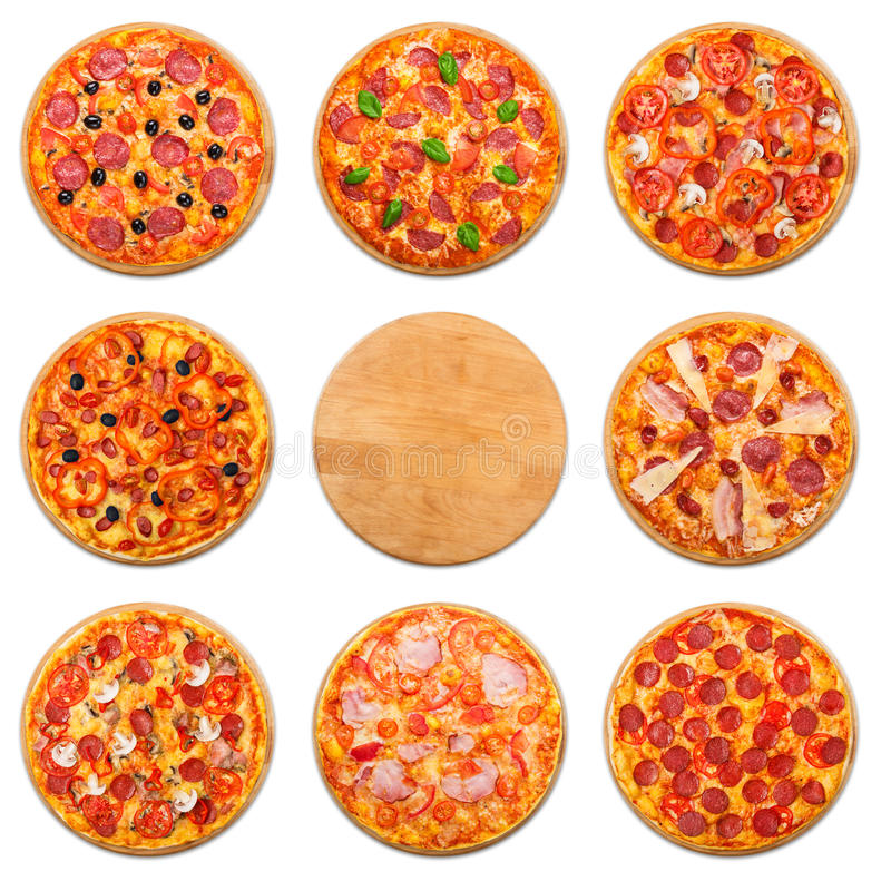 Pizza set with wooden desk copyspace isolated royalty free stock photo