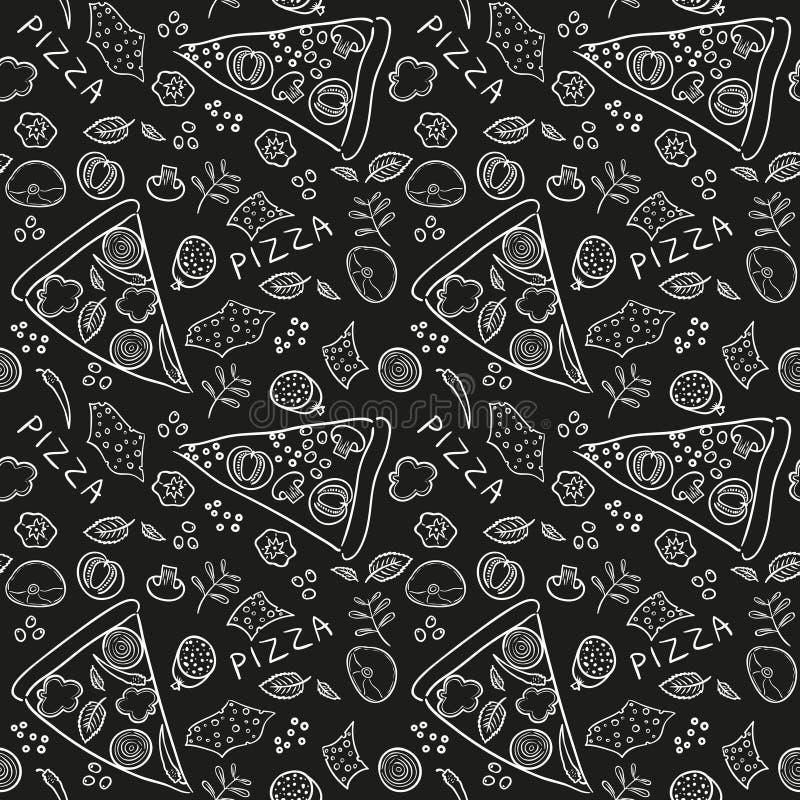 Pizza składniki - czarny deskowy bezszwowy wzór ilustracja wektor