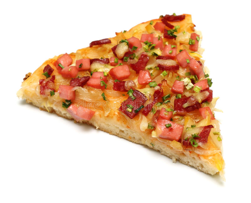 Pizza slice. Isolated on a white background stock image