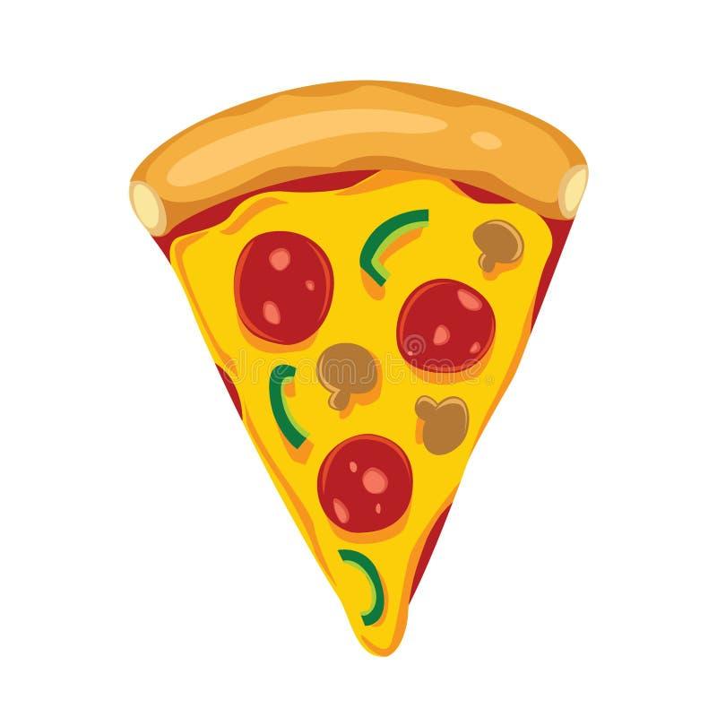 Pizza Slice from above cartoon illustration. Pizza slice cartoon vector illustration with pepperoni, paprika, mushroom, cheese, and tomato sauce on white stock illustration