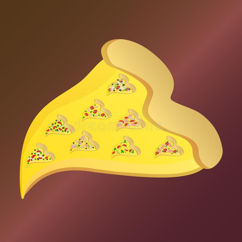 Pizza slice with eight little pizza slices vector illustration