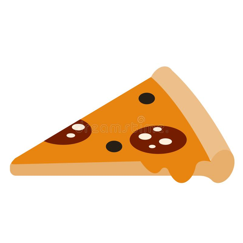 Pizza slice flat illustration on white. Lifestyle and everyday objects series royalty free illustration