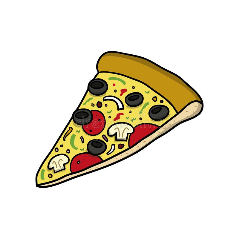 Pizza slice. Food icon. Doodle cartoon vector illustration. Vector drawing of Pizza slice. Icon belonging to collection of icons related to food. Doodle cartoon vector illustration