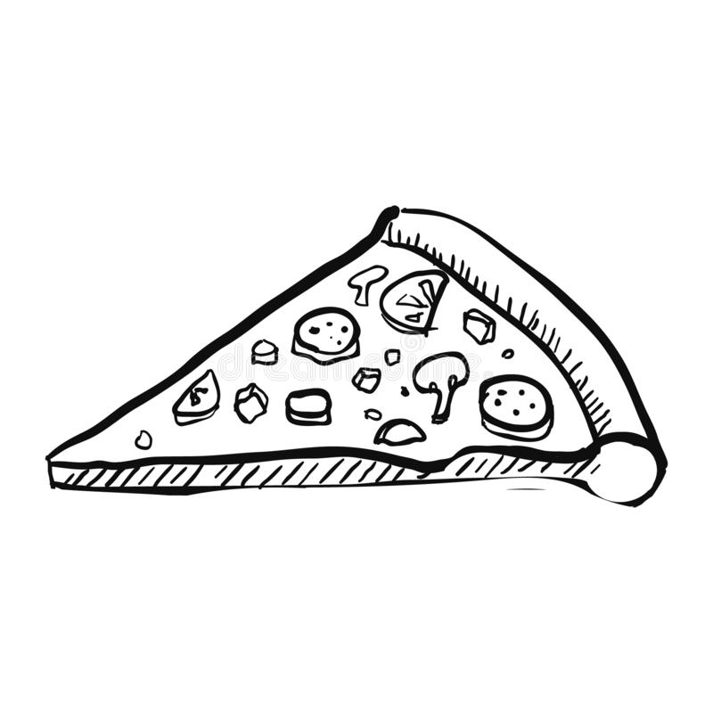 Pizza Slice. Handdrawn Vector Illustration. With Text royalty free illustration
