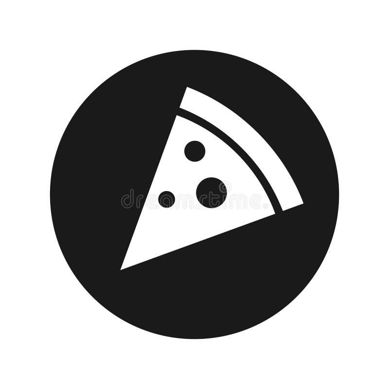 Pizza slice icon flat black round button vector illustration. Pizza slice icon vector illustration design isolated on flat black round button royalty free illustration