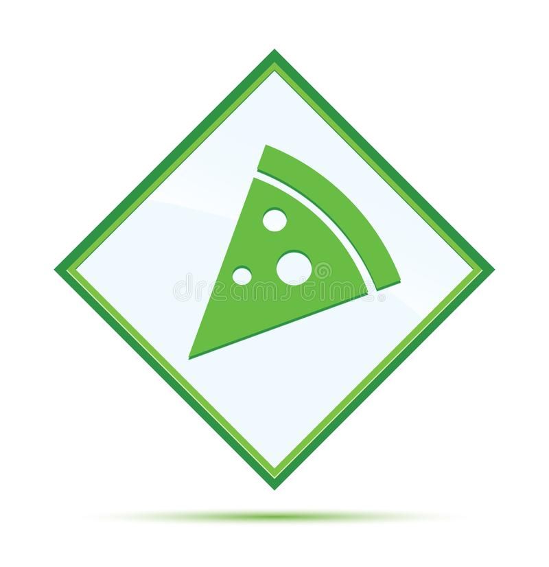 Pizza slice icon modern abstract green diamond button royalty free illustration