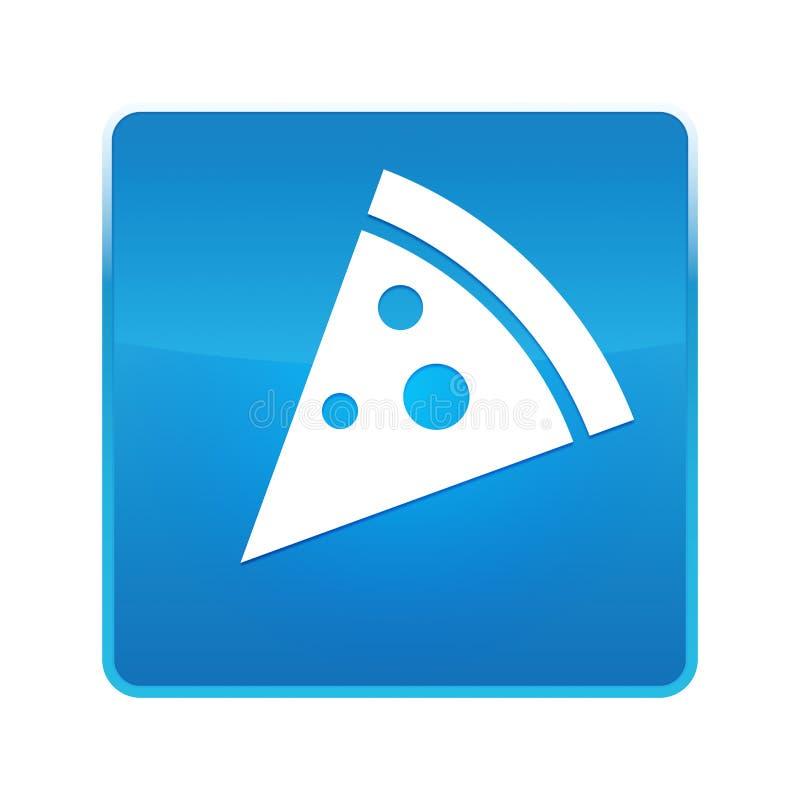 Pizza slice icon shiny blue square button vector illustration