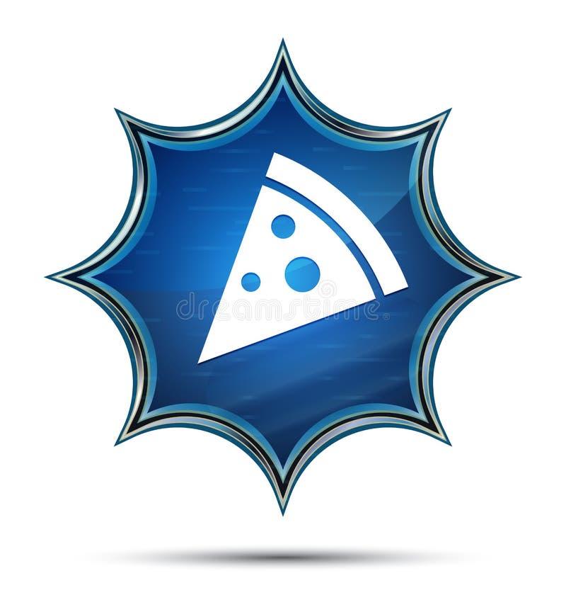 Pizza slice icon magical glassy sunburst blue button royalty free illustration