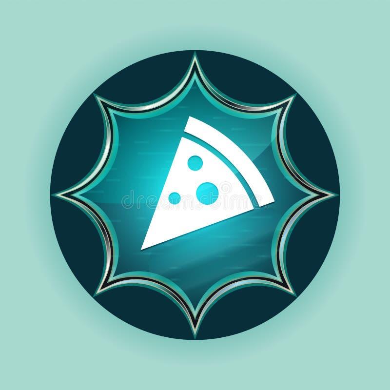 Pizza slice icon magical glassy sunburst blue button sky blue background stock illustration