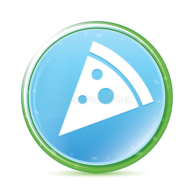 Pizza slice icon natural aqua cyan blue round button royalty free illustration