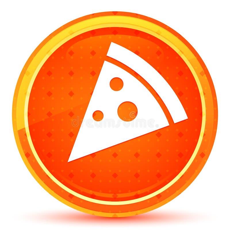 Pizza slice icon natural orange round button stock illustration