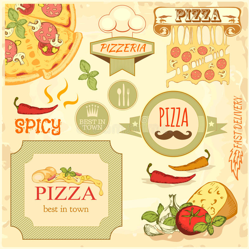 Pizza slice and ingredients background, box label packaging design vector illustration