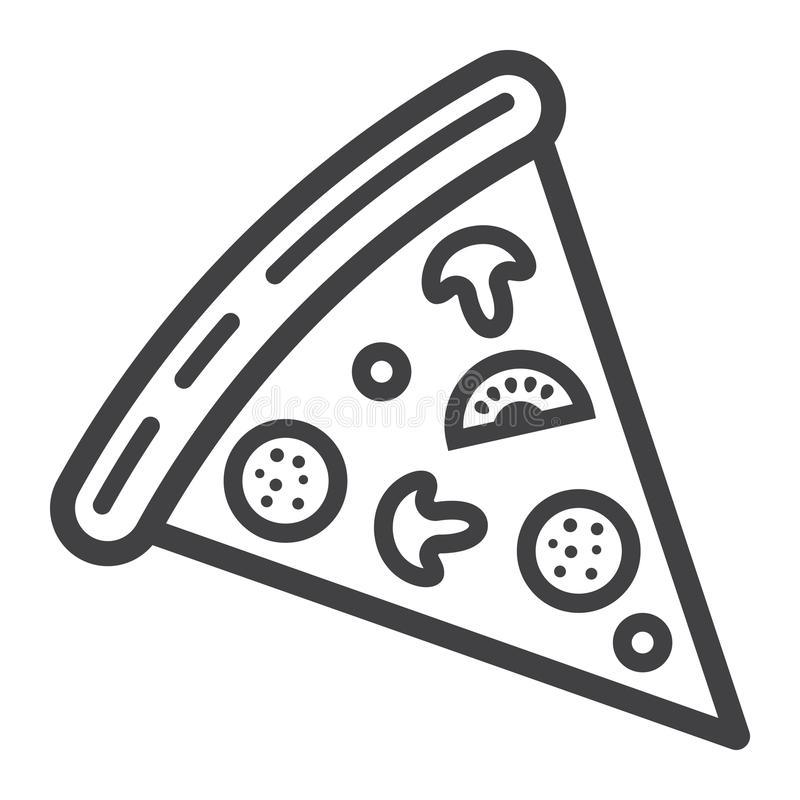 Pizza slice line icon, food and drink, fast food. Sign vector graphics, a linear pattern on a white background, eps 10 stock illustration