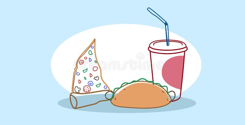 Pizza slice sandwich and soda fast food set tasty classic american fastfood hand drawn sketch doodle horizontal vector illustration