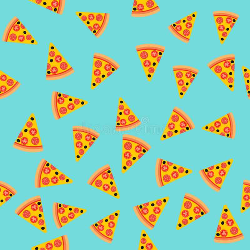 pizza slice seamless pattern  vector background  fast food