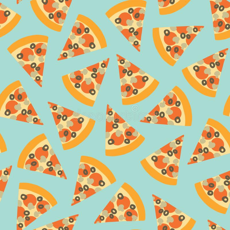 Pizza slice seamless vector pattern. Background with hand draw pizza. Doodle pizza with olives, mushroom, cheese, salami, tomatoes stock illustration